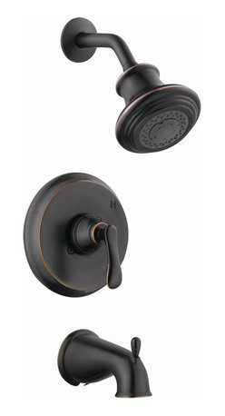 Design House - Madison Tub and Shower Faucet in Oil Rubbed B - Three functional adjustable ABS shower head. Brass waterways. Ceramic disc cartridge. 0.25 in. quarter turn stop. Single handle configuration. Pull-up diverter spout. Flow rate: 2.1 gallon per minute at 80 psi. UPC, cUPC, ASME, ANSI, ADA compliant. Made from brass. 9.94 in. W x 48 in. H. Warranty. Installation InstructionsMadison tub and shower faucet to easily adjust the temperature in your bathtub or shower. This faucet set is refined and elegant with a washer less cartridge. The brass waterways contain zinc and copper which are known to prevent antimicrobial growth ensuring safe and clean water for your family. The adjustable shower head and tub spout have a traditional configuration with unique vintage accents that can easily match any color scheme or style in your bathroom. This product adheres to industry leading practices and is designed with quality and innovation in mind.