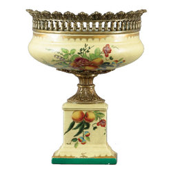 Oriental Danny - Porcelain Wall Hanging Vase - Save table space by showcasing your flowers aloft in this unique porcelain hanging vase on your wall. This elegantly painted vase has sophisticated bronze ormolu accents, and is flat along the back for ease of hanging.