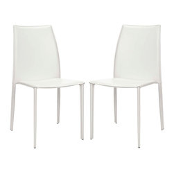 Safavieh - Korbin Side Chair (Set Of 2) - Inspired by chic Italian design, the Korbin side chair will be your most sophisticated dinner guest. Crafted with white bonded leather over a sturdy metal frame, its clean transitional lines impart contemporary European style to the living room, dining room, or home office. (Sold in a set of two)
