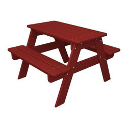 "Polywood - ""Polywood Outdoor Furniture Kid Picnic Table, Sunset Red-Recycled Pl..."" - ""Polywood Outdoor Furniture Kid Picnic Table, Sunset Red-Recycled Plastic Materials The Kid's collection from Poly-wood includes tables and chairs constructed to last a lifetime, mix and match pieces to create your own custom collection.  The strong and durable recycled plastic polymer is designed to look and feel like real wood, but requires none of the upkeep. Product Measures: 33 by 30 by 21 IN Product Measures: 33 by 30 by 21 IN"""