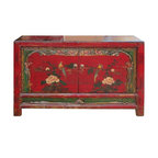 Golden Lotus - Red Mongolian Antique Flower Bird Buffet Table TV Stand Cabinet - This is a red Mongolian antique buffet cabinet which is made of solid elm wood.  The front door of cabinet has flower and bird painting carving on it.  It can be also used as TV stand cabinet.