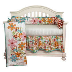 Cotton Tale Designs - Lizzie 4pc Crib Bedding Set - The Lizzie 4pc crib bedding set by Cotton Tale Designs has lots of color in a bright cotton motif.  Large appliquéd daisies accompany a patchwork of big dot red, small red dot and a fancy contemporary floral. Accents in bright turquoise. Perfect for a little girl's room.