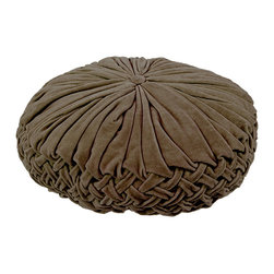 BrandWave - Velvet Rouched Round Pillow, Brown - Brighten up any couch or bed with the ruched velvet pillow collection. Ruching originates in France, and is a pleated, fluted or gathered piece of fabric, that we have used as the design for this pillow collection. These pillows are great for layering. With both square and round pillows, don't be afraid to mix and match your shapes and colors.