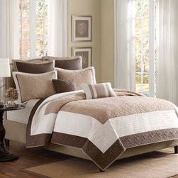 Madison Park - Madison Park Attingham 7 Piece Coverlet Set - The Attingham coverlet set is set in a chocolate brown, ivory and taupe, all working together to create this beautiful neutral colorway. The brown and taupe portions of the coverlet have an intricate woven design that add dimension to this coverlet. Made from 100% polyester, this coverlet will keep be easy to care for and keep you cozy all year round. Coverlet: 75gsm polyester microfiber, pieced, solid brushed polyester revese, 85% cotton, 10% polyester, 5% rayon filling, all over quilted, self fabric binding, prewash finish, 5oz cotton fill on sham Square Pillow: 75gsm polyester microfiber, pintucks, 93% polyester, 7% cotton fiber filling Oblong Pillow: 75gsm polyester microfiber, pieced, 100% polyester filling Euro Sham: 100% polyester