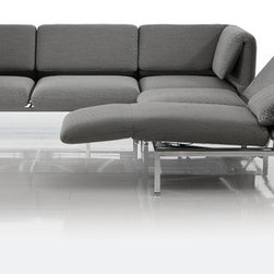 Roro Sofa Bruhl - The multifunctional roro-small and roro-medium ensembles offer a high level of sitting, lounging and sleeping comfort. With removable covers in white premium leather and a graceful chrome base frame.
