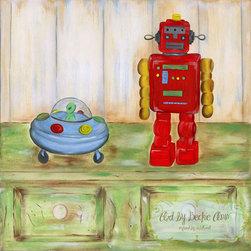 Boys Space Explorers Red Robot Art -