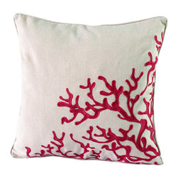 14 Karat Home - Ocean Coral Pillow, Red - We created this beautiful coral design with a special Crewel embroidery technique that artfully captures the ocean, sea or water.  The fabric is a soft and durable cotton/linen blend with a natural fabric welting to add interest to the embroidery pattern. Perfect for a beach home, bedroom or living space.