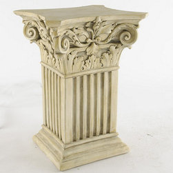 Ballard Designs - Fluted Corinthian Base - Its strong capital base and clean, fluted lines are crowned with classical scrolls and acanthus details. Use one to create a pedestal table or combine two for an impressive table, desk or console. Crafted of hand cast plaster. Specify Antique Beige, Black Over Vintage Wood, Vintage Wood or Antique White.