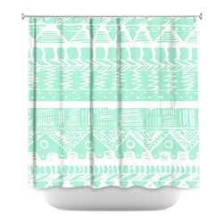DiaNoche Designs - Shower Curtain Artistic - Boho Mint Aztec - DiaNoche Designs works with artists from around the world to bring unique, artistic products to decorate all aspects of your home.  Our designer Shower Curtains will be the talk of every guest to visit your bathroom!  Our Shower Curtains have Sewn reinforced holes for curtain rings, Shower Curtain Rings Not Included.  Dye Sublimation printing adheres the ink to the material for long life and durability. Machine Wash upon arrival for maximum softness on cold and dry low.  Printed in USA.