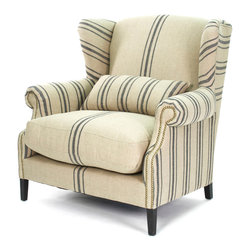 Kathy Kuo Home - Napoleon French Fog Linen Blue Stripe Wingback Arm Chair - The relaxed style of Provence is reinterpreted in this half wingback chair.  With a lumbar support and generous proportions, the Napoleon invites all to unwind without sacrificing style.