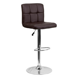Flash Furniture - Brown Quilted Vinyl Adjustable Height Bar Stool with Chrome Base - This sleek dual purpose stool easily adjusts from counter to bar height. The simple design allows it to seamlessly accent any area in the home. Not only is this stool stylish, but very comfortable to provide you with an amazing sitting experience! The easy to clean vinyl upholstery is an added bonus when stool is used regularly. The height adjustable swivel seat adjusts from counter to bar height with the handle located below the seat. The chrome footrest supports your feet while also providing a contemporary chic design.