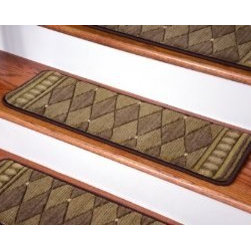 "Dean Flooring Company - Dean Premium New Zealand Wool Carpet Stair Treads - Marquis Cocoa 30""x9"" - Dean Premium New Zealand Wool Carpet Stair Treads - Marquis Cocoa (Set of 13) 30"" x 9"" : Beautiful Plush Carpet Stair Treads by Dean Flooring Company.  Luxurious and resilient texture.  Extraordinary textural appeal and subtlety of color.  High fashion design. Luxury carpet.  Densely coven construction.  100% Premium New Zealand Wool (the choice natural fiber for textural opulence and lasting beauty).  WOOL is the traditional fiber used to make rugs, and it?s no big mystery why. Besides being luxurious to the touch, wool can be dyed to beautiful rich colors, is fire-resistant, stain resistant, non-allergenic and holds up well over time. Also, wool is biodegradable and a renewable resource, making it a green choice as well as an elegant one.  Uncommon softness and durability.  Premium quality broadloom is woven.  Face-to-face on state-of-the-art Wilton looms.  Stylish enough to compliment the finest decors.  Size: approximately 30 inches by 9 inches.  Set includes 13 pieces.  Edges of each tread are serged with attractive color matching yarn.  Helps prevent slips on your hardwood stairs (treads must be securely attached to your stairs).  Provide warmth and comfort.  Extend the life of your hardwood stairs.  Easy do-it-yourself installation with double-sided carpet tape (Not included - sold separately)."