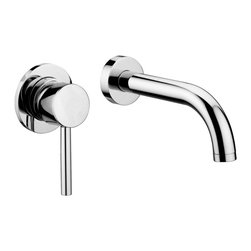 "Modo Bath - Stick SK 007.80 Wall Mounted Single Lever Faucet with Long Spout - Stick SK 006.80 Concealed Single Lever Wall Mounted Bathroom Faucet with 9.6"" Spout, with Aerator and 3.1"" Diameter Wall Plate"