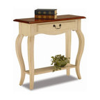 Leick Furniture - Favorite Finds Wood Console Table w Shelf & D - Cabriole legs. Dovetailed, solid wood drawer box. Solid hardwoods. Minimal assembly required. 30 in. W x 12 in. D x 30 in. HDrawer storage and plentiful display options make for a high impact presentation. The solid wood construction ensures that this table will hold up to everyday use.
