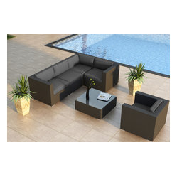 Urbana 5-Piece Modern Patio Sectional Set, Charcoal Cushions