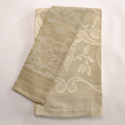Melania Guest Towel - The Italian Renaissance Collection of guest towels is extraordinary. These authentic 15th century designs are still woven in a medieval Italian walled village. Intricately woven from 50% linen and 50% cotton, these fabrics are as beautiful as they are durable. These heirloom-quality guest towels make the perfect gift, for yourself or someone else. Choose from a light warp (pictured in large towel) or dark warp (pictured in small towel). Towels can be finished with hemstitching or with hand-knotted fringe (light warp only.) Light warp towels have a light fringe.
