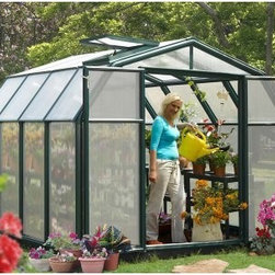 Rion Hobby Gardener Greenhouse - Extend your growing season and grow your favorite vegetables and flowers with the Rion Hobby Gardener Greenhouse. Beautifully designed with a strong structure this greenhouse has a barn shape which adds to its strength and gives you plenty of headroom. This greenhouse has been tested to resist severe weather conditions and able to hold up to 1100 pounds of snow. Easy to assemble this greenhouse is made with four millimeter twin-walled polycarbonate panels which gives you superior strength safety light diffusion and great heat insulation. The thick UV-protected PVC resin not only helps to protect your plants but also comes in beautiful shade of green. Polycarbonate roof panels diffuse bright light and the fully-insulated resin frame is maintenance free. The roof vent allows in plenty of air and helps you to control the temperature inside the greenhouse. Its double wide hinged doors makes it easy to get in and out of the greenhouse with supplies and has a hand lock for added safety. You'll love having a place of your own to disappear from the world for awhile surrounded by growing plants.