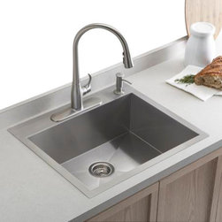 KOHLER - KOHLER K-3822-1-NA Vault Medium Single Bowl Kitchen Sink with Single Faucet Hole - KOHLER K-3822-1-NA Vault Medium Single Bowl Kitchen Sink with Single Faucet Hole in Stainless Steel