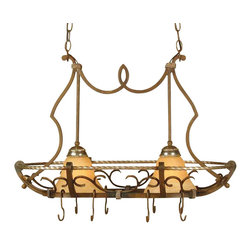 AF Lighting - AF Lighting Wentworth Traditional Kitchen Island Light X-P2-0316 - From the Wentworth Collection, the stunning detailing of this AF Lighting kitchen island light is brought front and center with Bronze Crackle finishing. The design is ideal for additional storage, with its hooks for hanging pots, pans and other kitchen tools. This traditional kitchen island light features Pewter accenting and two beautiful cream alabaster glass diffusers.