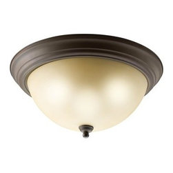 Kichler 3-Light Flush Mount - Olde Bronze - Three Light Flush Mount With just the right amount of added detail, this flush mount ceiling fixture provides not only the light you need, but the form as well. A pleasing, yet unobtrusive look for any room where a functional light is needed. Light umber etched glass with olde bronze . 3 light. 60 watt max. Diameter 15 , height 6 .