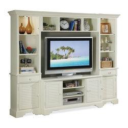 Riverside Furniture - Splash of Color Wooden Entertainment Center - Includes TV console, bridge, left and right pier