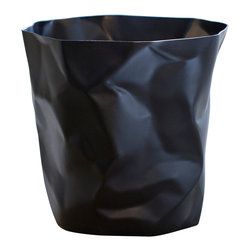 Essey of Denmark - Essey Bin Bin Waste Basket by Essey of Denmark - Black - This international award-winning waste basket was designed by John Brauer to look like the crumpled paper that it is intended to hold. It is made in Germany of hard polypropylene. The waste basket measures about 13 x 13 inches. Bin Bin has inspired a line of other crumpled paper-look products: Pen Pen, a miniature Bin Bin, that serves as a pen and pencil holder, Wipy cube tissue box holder, and Wipy II long tissue box holder. Each of these Essey products comes in white, red, and black.