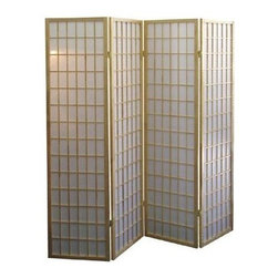 ORE International - 4-Panel Folding Room Divider in White & Natur - 4 Paper panels. Folds for easy storage. Wood Veneer frame. Made of wood composite. 50 in. L x 6 in. W x 70 in. H (17 lbs.)Define a space or create privacy with this Japanese-inspired room divider.A classic Asian inspired design highlights this stylish four-panel room divider. Ideal for adding architectural interest or for defining a seating area, the Shoji style screen is finished with rice paper panels.