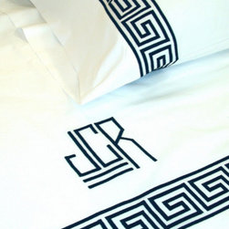 Greek Key Embroidery Bed Linens - Greek key–embroidered bed linens are gorgeous and timeless.