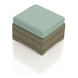 Forever Patio - Hampton Modern Patio Ottoman, Heather Wicker and Spa Cushions - The Forever Patio Hampton Wicker Outdoor Ottoman with Turquoise Sunbrella cushions (SKU FP-HAM-OT-HT-SP) is the perfect complement to any Hampton sofa or chair, and can even be used as an extra seat due to its generous size. The UV-protected, heather wicker sports a flat woven design, creating a contemporary look with clean lines. Each strand of this outdoor wicker is made from High-Density Polyethylene (HDPE) and is infused with its rich color and UV-inhibitors that prevent cracking, chipping and fading ordinarily caused by sunlight. This patio wicker ottoman is supported by thick-gauged, powder-coated aluminum frames that make it more durable than natural rattan. This ottoman includes a fade- and mildew-resistant Sunbrella cushion for added comfort in your outdoor space.