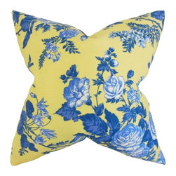 """The Pillow Collection - Neela Floral Pillow, Yellow Blue 20"""" x 20"""" - Toss this throw pillow to your sofa, bed or seat for a spring-ready look."""