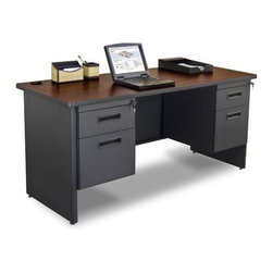 "Marvel Office Furniture - Pronto Double Pedestal Computer Desk - If you a looking for an office desk, front office desk, or computer desk, look no further than the Pronto office furniture systems by Marvel. Your office design will be easy with one of our office desk sets. With solutions for the home office or commercial furniture environment, the Pronto desk make it easy to work comfortably, our storage solutions help you to be more organized. Since Pronto is office furniture manufactured in the USA, it conveniently quick ships in just 5 days. Get your new office design today. Features: -Credenza.-Durable melamine laminate tops.-Modesty panel with wire management.-Locks with 2 keys.-2 Hanging pedestals with box and file.-Made in USA.-Includes two 2'' grommets with full leg end panel.-Pronto collection.-Distressed: No.-Collection: Pronto.-Country of Manufacture: United States.-Desk Type: Double Pedestal Credenza.-Powder Coated Finish: Yes.-Gloss Finish: No.-UV Finish: No.-Top Material : Laminate.-Base Material: Metal.-Number of Items Included: 3.-Water Resistant: No.-Stain Resistant: No.-Heat Resistant: No.-Eco-Friendly: Yes.-Cable Management: Yes.-Keyboard Tray: No.-Height Adjustable: No.-Drawers Included: Yes -File Drawer: Yes.-Drawer Glide Material : Metal.-Drawer Glide Extension: Full Extension.-Safety Stop : Yes.-Soft-Close Drawer: No.-Locking Drawer: Yes.-Core Removable Drawer Locks: No.-Ball Bearing Glides: Yes..-Number of Drawer Pedestals: 2.-Pencil Drawer: No.-Jewelry Tray: No.-Exterior Shelving : No.-Ergonomic Design: No.-Handedness: Both.-Scratch Resistant: No.-Chair Included: No.-Legs Included: Yes -Number of Legs: 2.-Leg Material: Steel.-Leg Glides: No..-Casters Included: No.-Hutch Included: No.-Treadmill Included: No.-Modesty Panel : Yes -Modesty Panel Details: 3/4 Height..-CPU Storage: No.-Built In Outlet: No.-Built In Surge Protector: No.-Light Included: No.-Finished Back: No.-Tipping Prevention: No.-Modular: No.-Application: Office.-Commercial Use: Yes.-Solid Wood Construction: Yes.-Swatch Available: Yes.-Recycled Content: Yes.Specifications: -Green Guard Certified: Yes.Dimensions: -Overall Product Weight: 184 lbs.-Overall Height - Top to Bottom: 29"".-Overall Width - Side to Side: 60"".-Overall Depth - Front to Back: 24"".-Desk Return: No.-Credenza: -Credenza Height- Top to Bottom: 29"".-Credenza Width- Side to Side: 60"".-Credenza Depth- Front to Back: 24""..-Bridge: No.-Cabinet: No.-Drawer: No.-Shelving: No.-Seat: No.-Desktop Height: 29"".-Desktop Width - Side to Side: 60"".-Desktop Depth - Front to Back: 24"".-Knee Space Height: 27.75"".-Knee Space Depth: 24"".-Hutch : No.-Legs: -Leg Height: 27.75""..Assembly: -Assembly required.-Assembly Required: Yes.-Additional Parts Required: No.Warranty: -Manufacturer provides lifetime warranty for manufacturer defect.-Product Warranty: Lifetime."