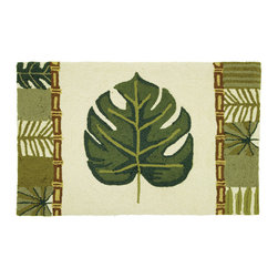 Homefires - Palm Leaf & Bamboo Rug - It is said that the color green represents balance and growth. Bringing this natural color indoors will help create a spa-like atmosphere. Turn your home into your own personal Zen garden with a wool-like, washable accent rug that features the harmonious colors of nature.