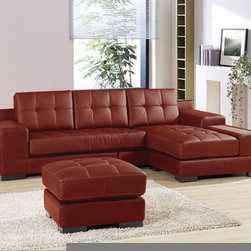 Dico orange/ brown leather sectional sofa. Elegant 2-Pieces Modern Leather Secti - Dimensions: