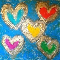 """Rochelle Carr Studio and Gallery - Original Hand Sculpted Heart Painting """"Five of Hearts"""" by Rochelle Carr - Original acrylic painting on gallery wrap canvas. Sides painted black so no need to frame. Artist signed front and back. Bio of artist included with shipping."""