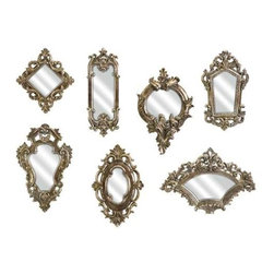 Loletta Victorian Inspired Mirrors - Set of 7 - These unique Victorian mirrors will bring elegance to a room like nothing else can.