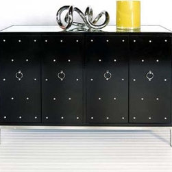 Worlds Away Buffet With Nickel Studs And Base - There is something very refined and very rock and roll about his buffet. The lines, lacquer and drawer pulls make give it regency style, while the studs and black color give it an edge.
