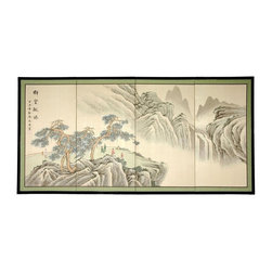 Oriental Unlimted - Mountain of Knowledge Silk Screen Painting (1 - Choose Size: 18 in. H x 36 in. WScreens may vary slightly in color. Very finely detailed Mountain of Knowledge rendition. Painted with mountains in shades of black and gray and oriental pines in brown and green. Song dynasty (10th century China) brush art style. Hand painted ink and watercolor silk screen. Subtle and beautiful hand painted wall art for a fraction of the cost of a comparable print. Crafted from silk covered paper. Glued over four side-by-side lacquered wood frames. Matted with a fine Chinese silk brocade border. Comes with lacquered brass geometric hangers for easy mounting. Can be displayed as a privacy screen. Can be partly folded to stand upright on a table or floor. Note that no 2 renderings are exactly the same. Each screen: 0.63 in. deep. 18 in. H x 36 in. W. 24 in. H x 48 in. W. 36 in. H x 72 in. W