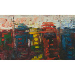 Vibrant City (Original) by Kajal Zaveri - A beautiful, semi abstract style painting depicting the vibrancy of an urban city like New York or San Francisco.