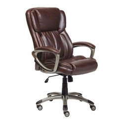 Serta by True Innovations - Serta Executive Office Chair in Brown Bonded Leather - Serta by True Innovations - Office Chairs - 43520 - About This Product: