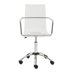 Euro Style - Euro Style Chloe Office Chair 80943CLR - It's such a relief when a choice is so totally clear. Meet Chloe. A collection of practically shaped chairs and stools with one-piece clear acrylic seats and backs. When clean and simple is at the top of your list Chloe should be too.