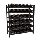 36 Bottle Stackable Wine Rack in Redwood with Black Stain - A pair of discounted wine racks allow double wine storage at a low price. This rack accommodates all 750ml bottles, Pinots and Champagnes. The quintessential DIY wine rack kit. Your satisfaction is guaranteed.