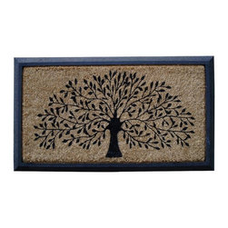 """A1 Home Collections - Rubber And Coir Molded Double Doormat - """"Shredding Leaf Design""""- Large Size - This charming mat of a shredding tree is durable and has thousands of coir bristles embedded in a rubber base that help capture and remove dirt and moisture from shoes. This mat is an excellent addition to your home."""