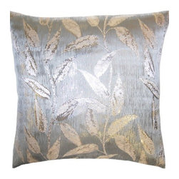 Squarefeathers - Brillante, Cream Leaves Pillow - The Brillante Collection is well... it speaks for itself. Brilliant. Made of silk and polyester with a silver velvet back and a knife edge trim. It has a soft and pump feataher/down insert inclosed with a zipper. Like all of our products, this pillow is handmade, made to order exclusively in our studio right here in the USA.