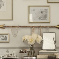 Perfect Shot Jewelry Hanger - The weathered gold and wood look to this jewelry hanger is so pretty. I think it would also look fantastic holding mugs in the kitchen.
