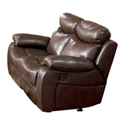 Coaster - Coaster Denisa Reclining Leather Love Seat in Rich Brown - Coaster - Loveseats - 600562 - This reclining love seat will make a wonderful addition to your living room with its casual comfort and style. Plush double reclining scoop seats offer the ultimate in comfort. The horizontally split back cushions provide lumbar support and the fully cushioned chaise pad seats provide comfort from head to toe. Pair with the coordinating rocking recliner and sofa for a terrific room setting.