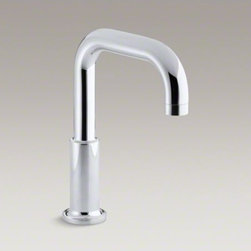 KOHLER - KOHLER Purist(R) deck-mount non-diverter bath spout - Purist faucets and accessories combine simple, architectural forms with sensual design lines. Featuring this modern, minimalist style, the Purist deck-mount faucet spout trim adds sophistication to your bath with its defined profile.