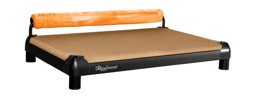 DoggySnooze - snoozeSleeper, Anodized Frame, Memory Foam, 1 Bolster Org - It's a dog's life for pooches who get to snooze on this contemporary dog bed. Elevated for comfort with a sturdy bolster for support, this bed comes in a selection of colors to complement your home or office decor. Made in the USA and available in three sizes, with optional black anodized frame, long legs and memory foam.