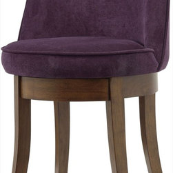 Coaster - Vanity Stool, Eggplant - This elegant vanity stool features a curved back, padded swivel seating and flared wood legs in a cherry finish.