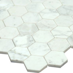 All Marble Tiles - Bianco Carrara 2 inches Honed Marble Honey Comb Mosaic Tile - Finish: Honed