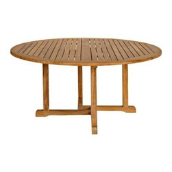 "Oxford Teak 60"" Round Dining Table - For the serious outdoor enthusiast and entertainment, the Five Foot Teak Round Table, like the Chelsea Round Extension Table�is kingly and spacious. Using exquisite Teak wood, this table is just the perfect centerpiece amidst six chairs in your patio, garden or coastal getaway. Parties in the backyard are ultimately pleasurable, especially with the added protection of a Patio Umbrella and matching Teak Chairs. Our beautiful teak furniture�is lustrous and polished to the touch."